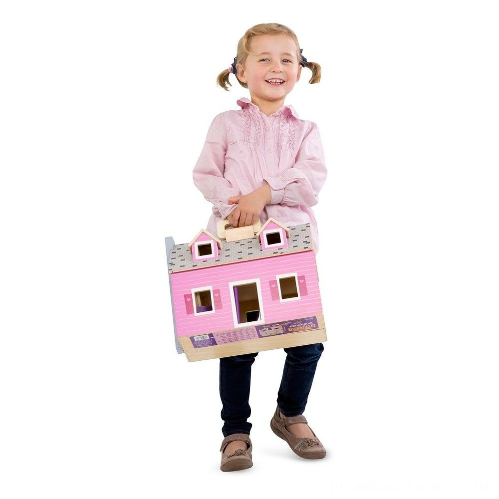 Melissa & Doug Fold and Go Wooden Dollhouse With 2 Dolls and Wooden Furniture Deal