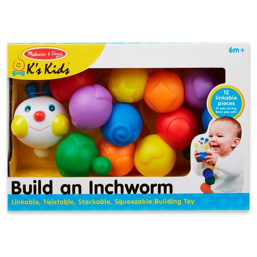 Melissa & Doug K's Kids Build an Inchworm Snap-Together Soft Block Set for Baby - Linkable, Twistable, Stackable, Squeezable Deal