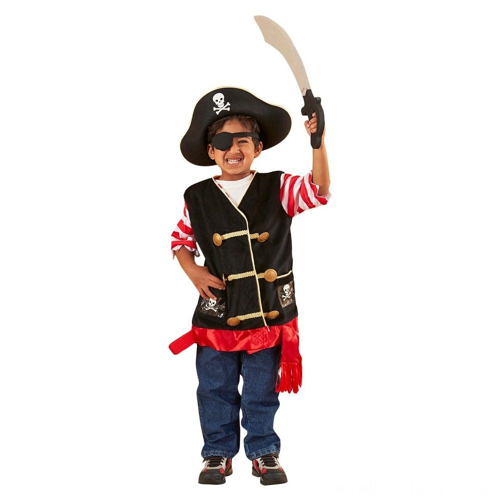 Melissa & Doug Pirate Role Play Costume Dress-Up Set With Hat, Sword, and Eye Patch, Adult Unisex, Black Deal