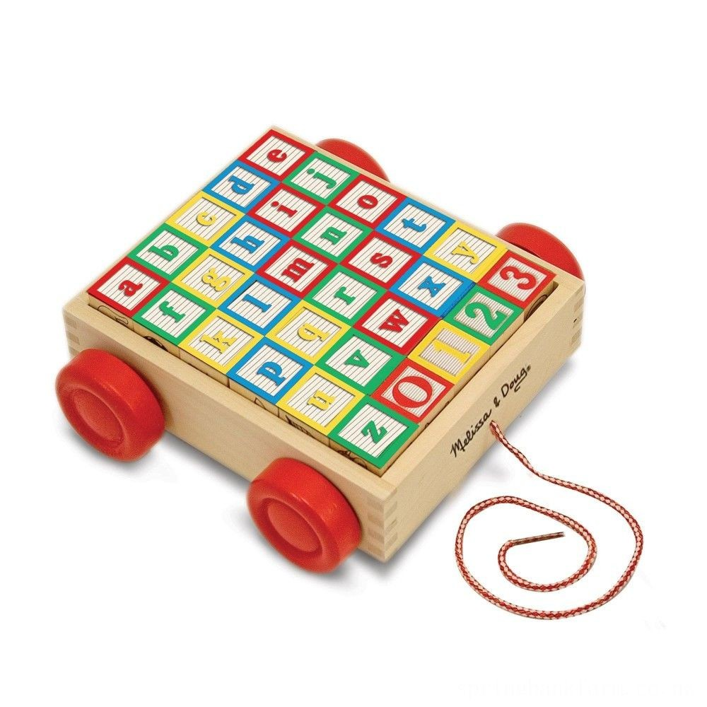 Melissa & Doug Classic ABC Wooden Block Cart Educational Toy With 30 Solid Wood Blocks Deal