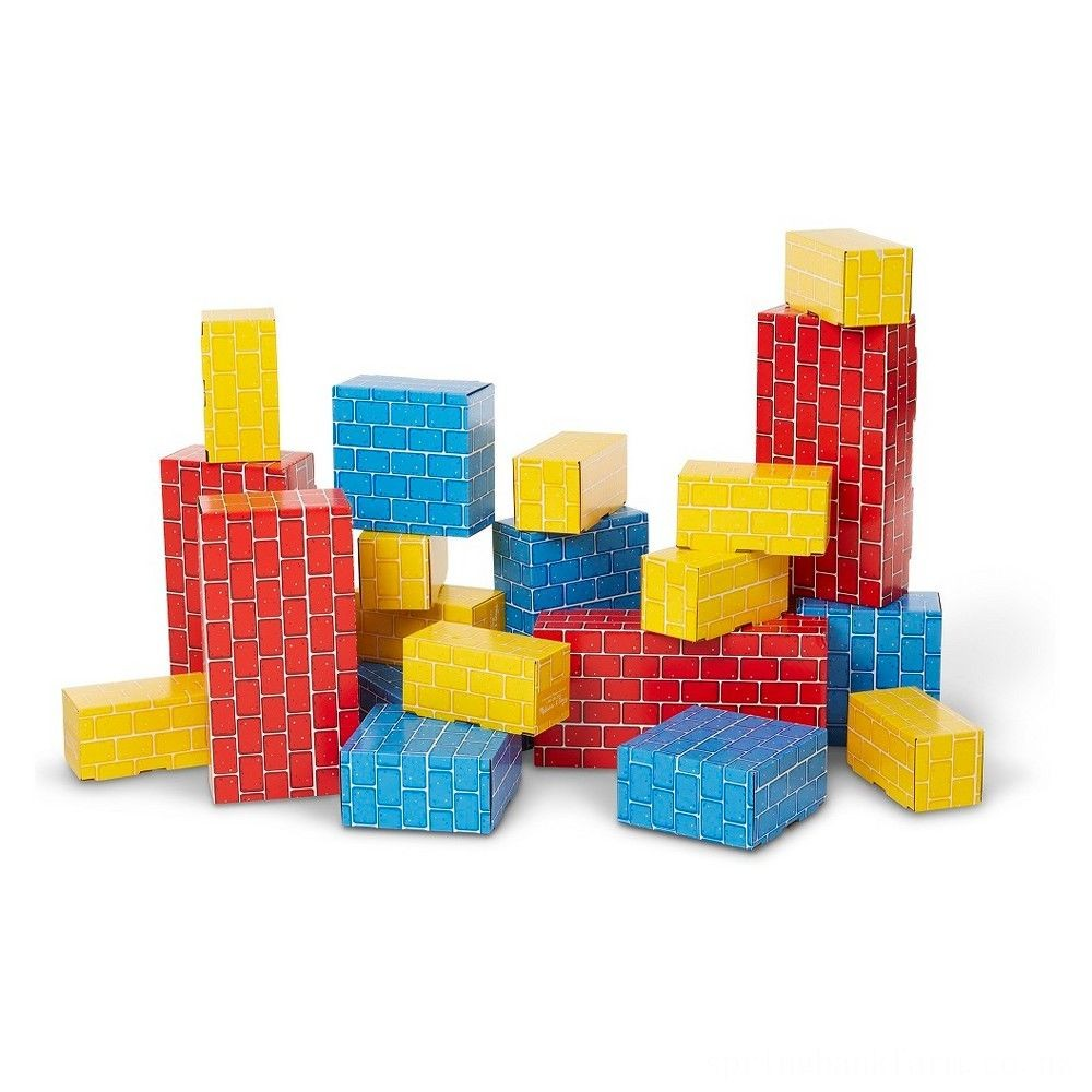 Melissa & Doug Extra-Thick Cardboard Building Blocks - 24 Blocks in 3 Sizes Deal