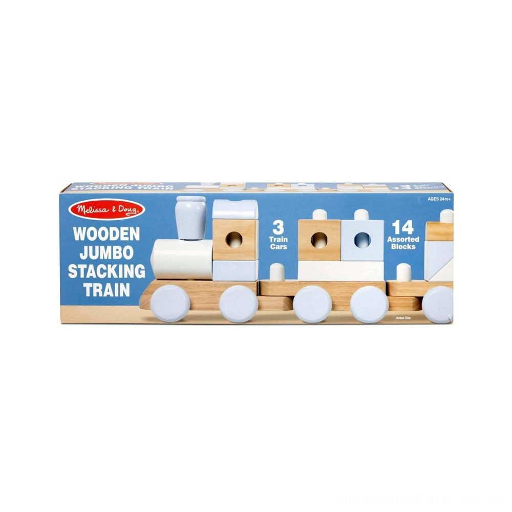 Melissa & Doug Wooden Jumbo Stacking Train - Natural Deal