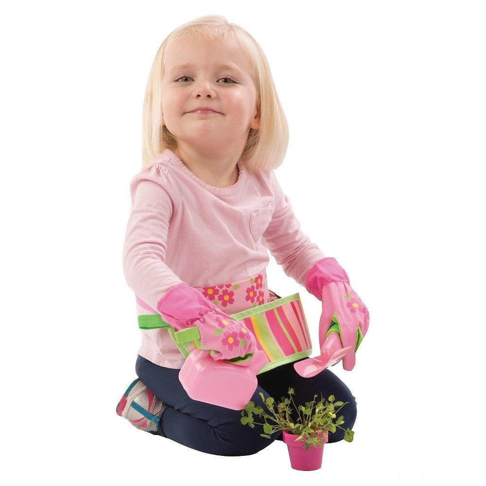 Melissa & Doug Sunny Patch Blossom Bright Garden Tool Belt Set With Gloves, Trowel, Watering Can, and Pot Deal