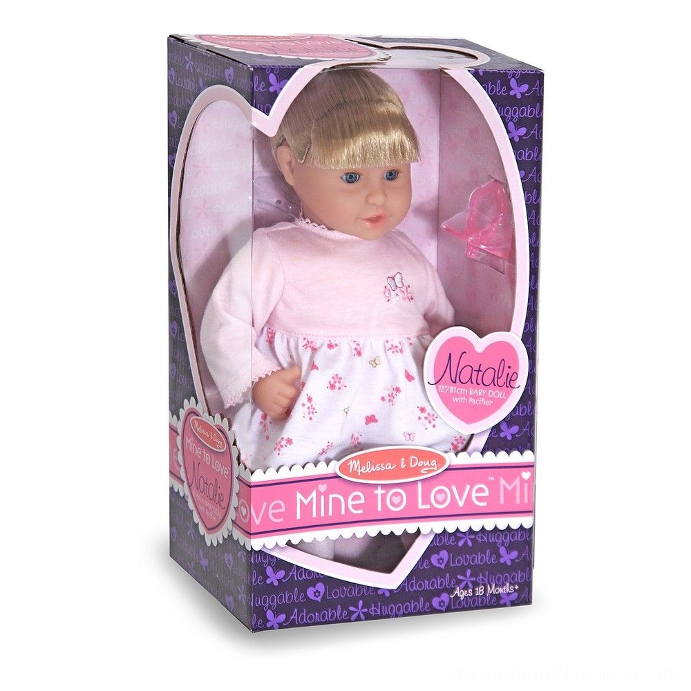 Melissa & Doug Mine to Love Natalie 12-Inch Soft Body Baby Doll With Hair and Outfit Deal