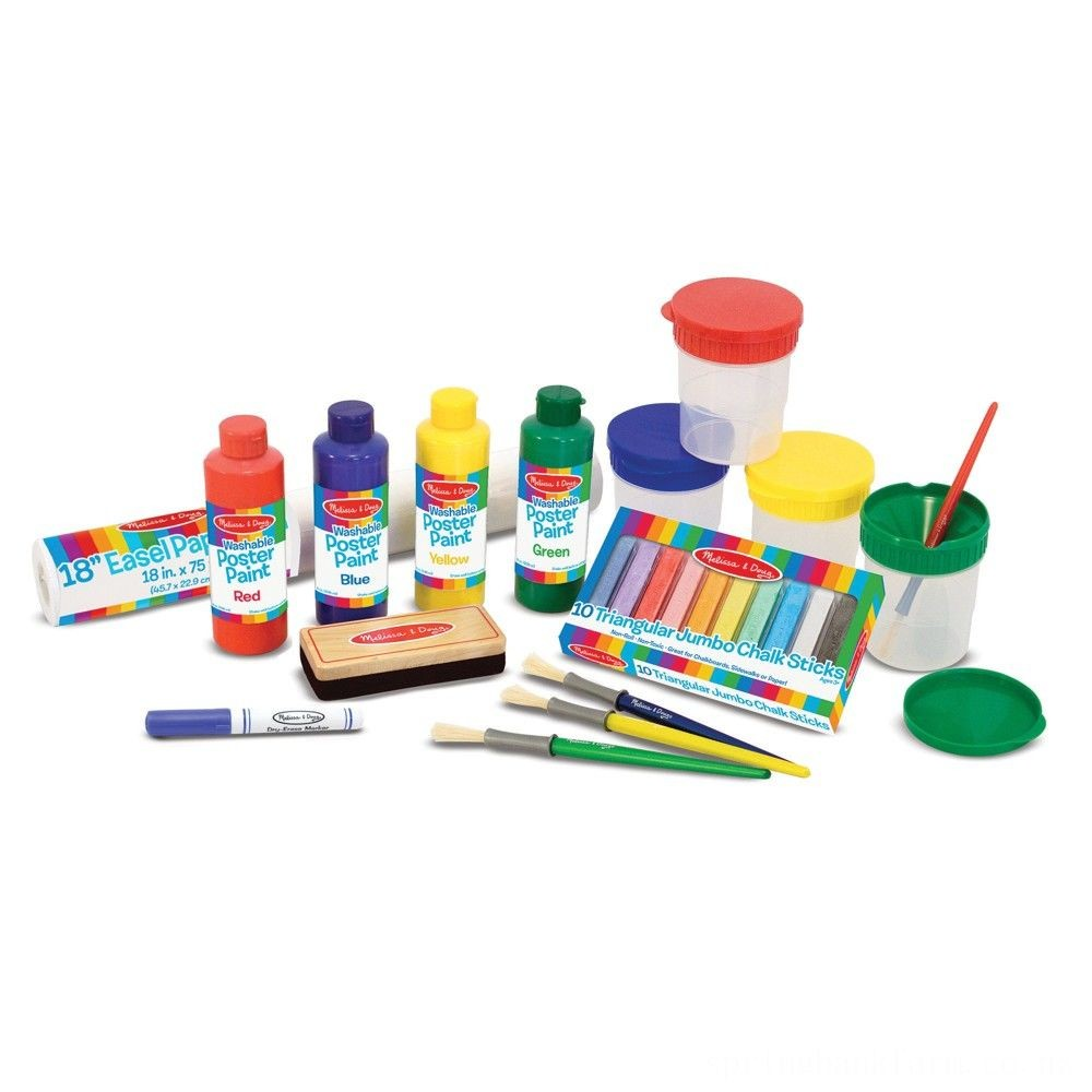 Melissa & Doug Easel Accessory Set - Paint, Cups, Brushes, Chalk, Paper, Dry-Erase Marker Deal