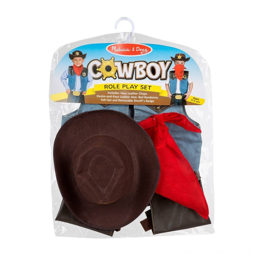 Melissa & Doug Cowboy Role Play Costume Set (5pc) - Includes Faux Leather Chaps, Adult Unisex, Blue/Gold/Red Deal