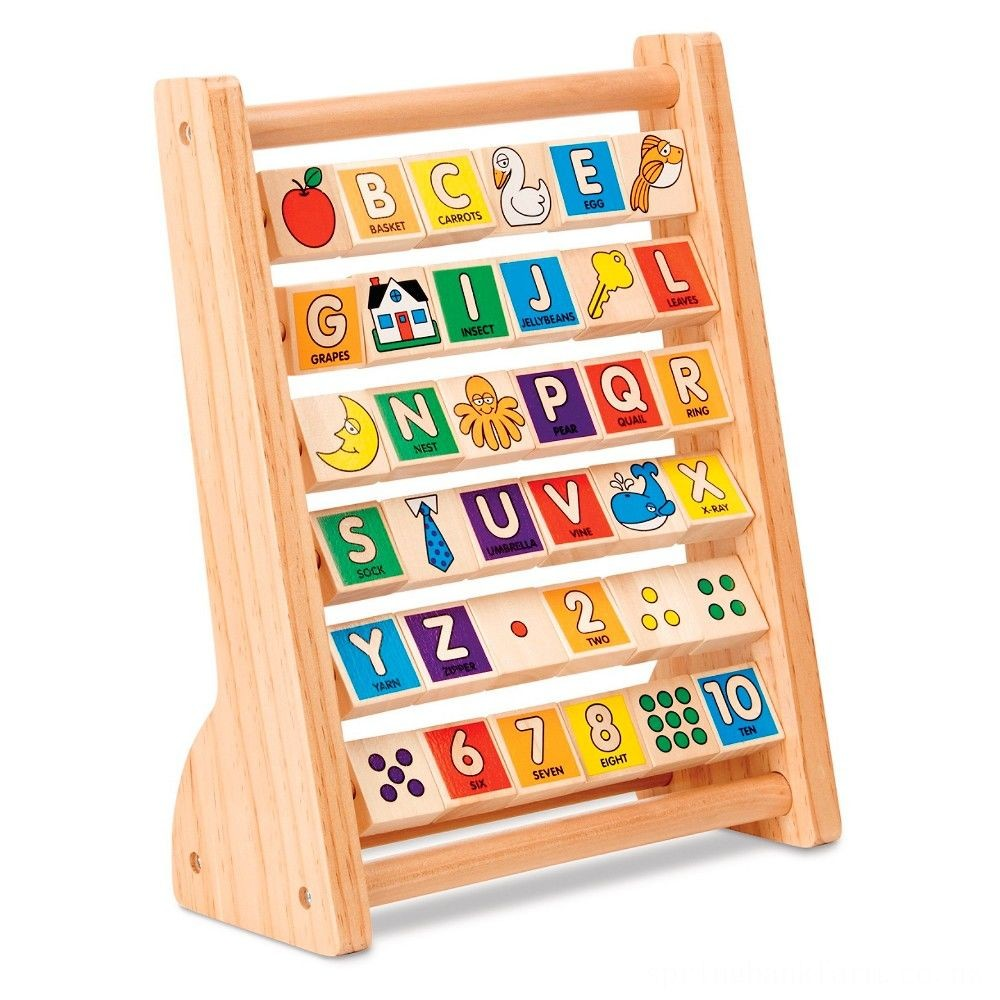 Melissa & Doug ABC-123 Abacus - Classic Wooden Educational Toy With 36 Letter and Number Tiles Deal