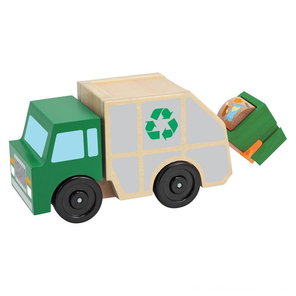 Melissa & Doug Garbage Truck Wooden Vehicle Toy (3pc) Deal