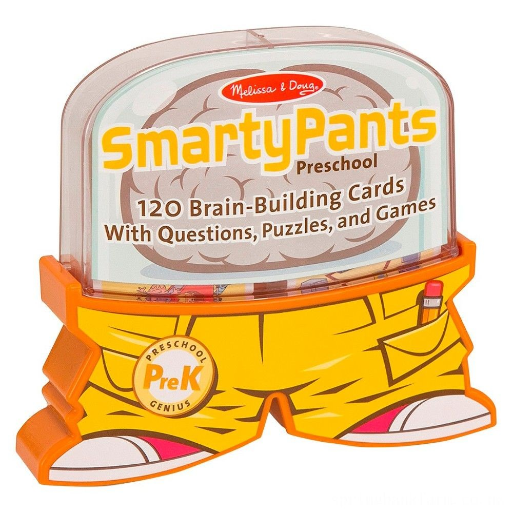 Melissa & Doug Smarty Pants Preschool Card Set Educational Activity With 120 Brain-Building Questions, Puzzles, and Games, Kids Unisex Deal