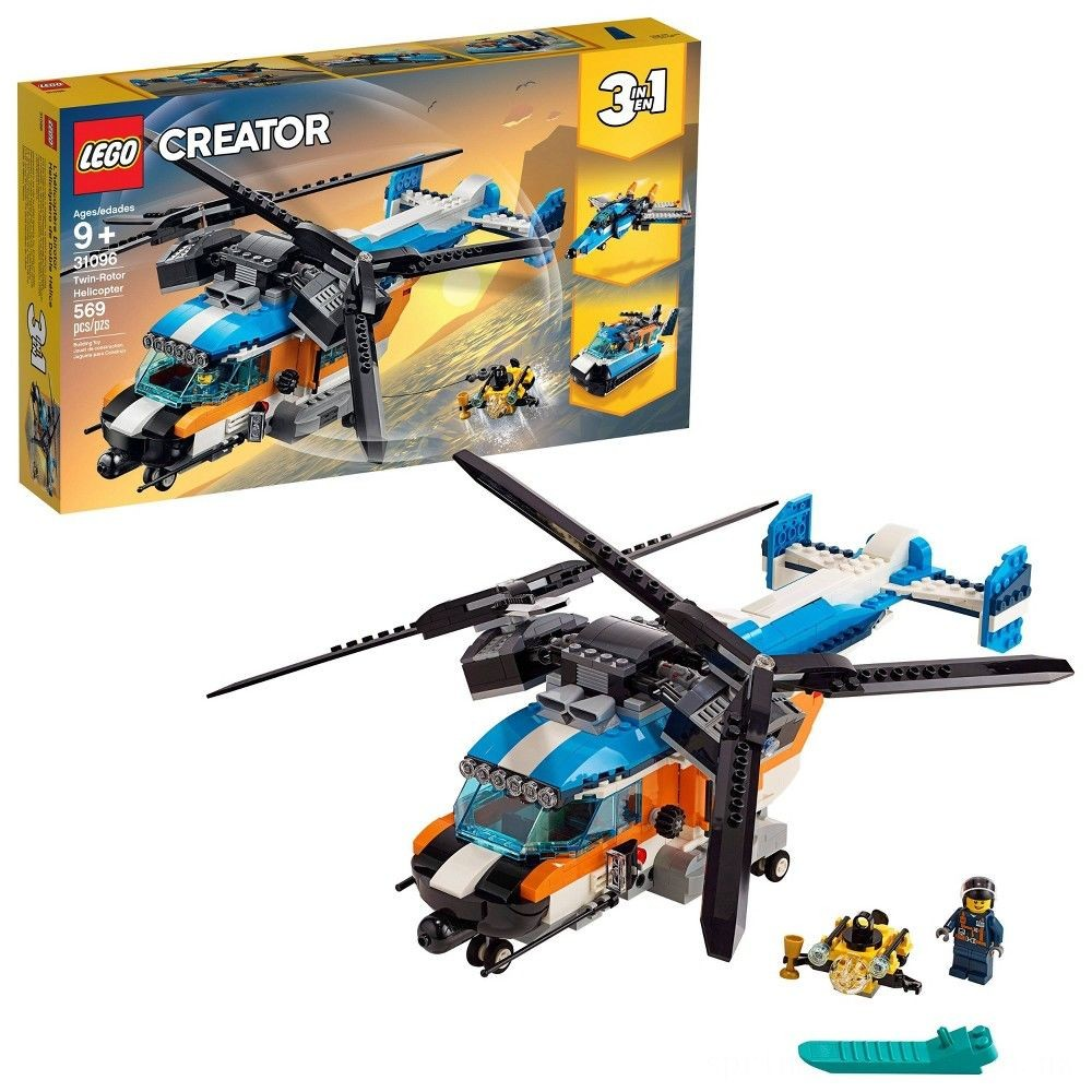LEGO Creator Twin-Rotor Helicopter 31096 Toy Helicopter Building Set with Submarine 569pc Deal