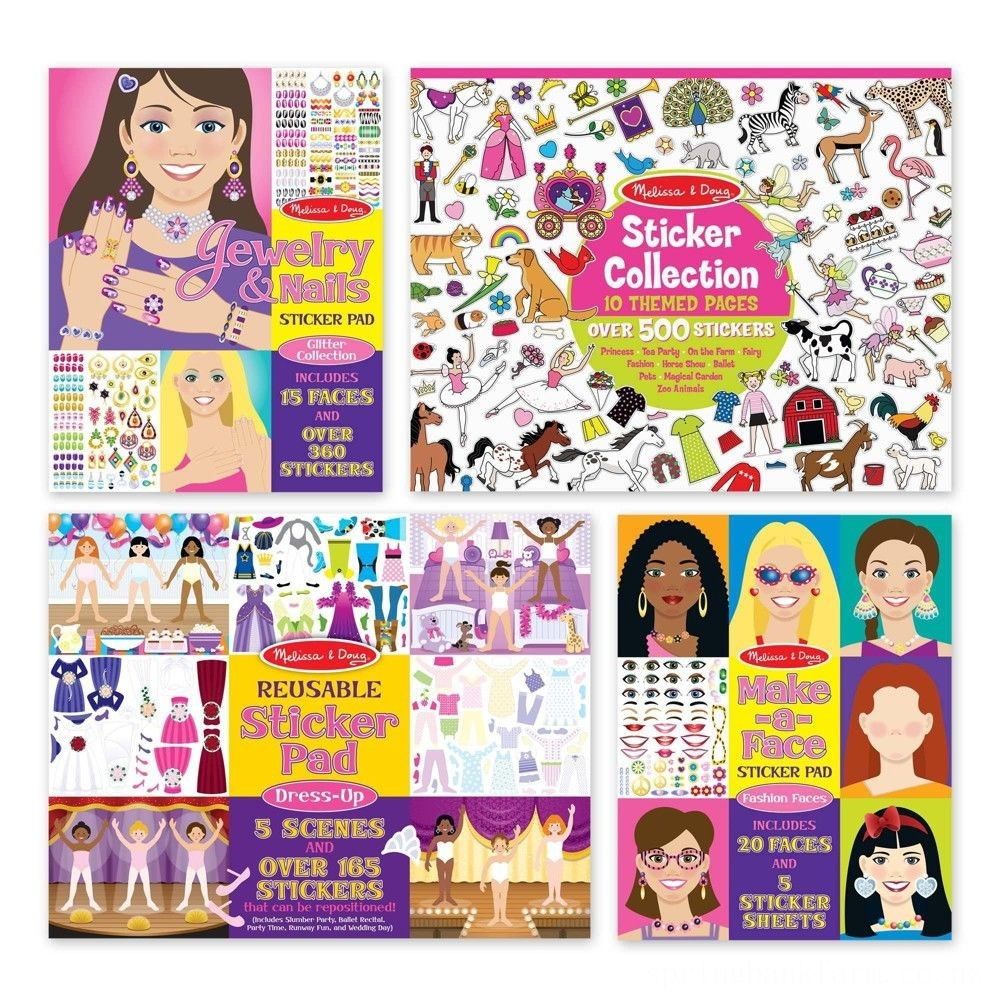 Melissa & Doug Sticker Pads Set: Jewelry and Nails, Dress-Up, Make-a-Face, Favorite Themes - 1225+ Stickers Deal