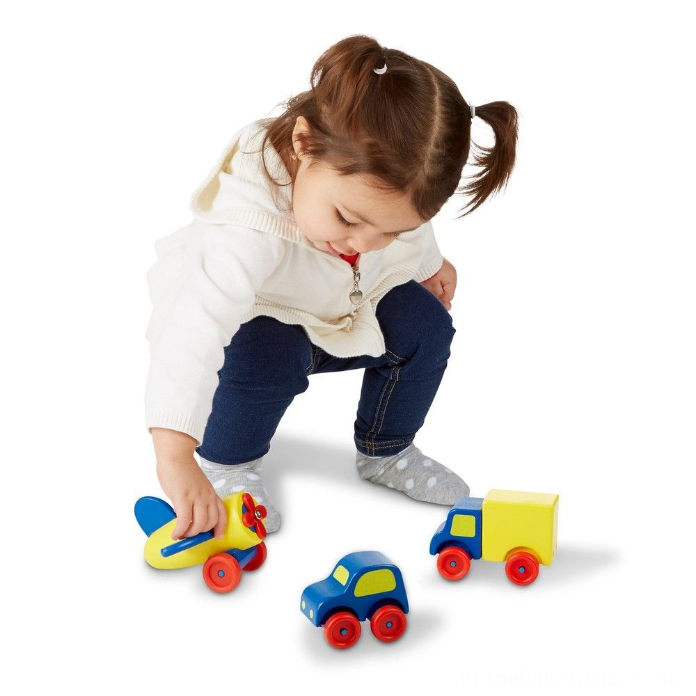 Melissa & Doug Deluxe Wooden First Vehicles Set With Truck, Car, and Airplane Deal
