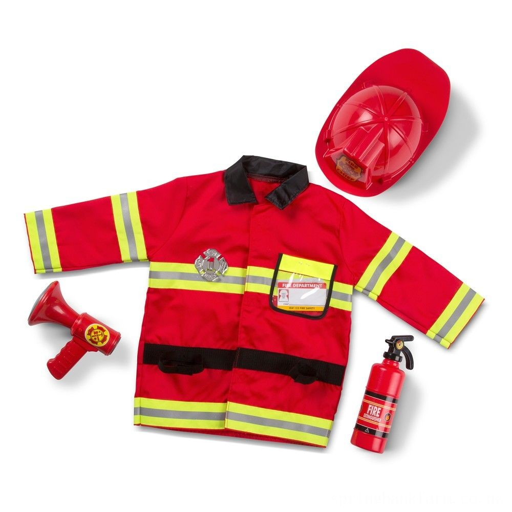 Melissa & Doug Fire Chief Role Play Costume Dress-Up Set (6pc), Adult Unisex, Size: Small, Red Deal