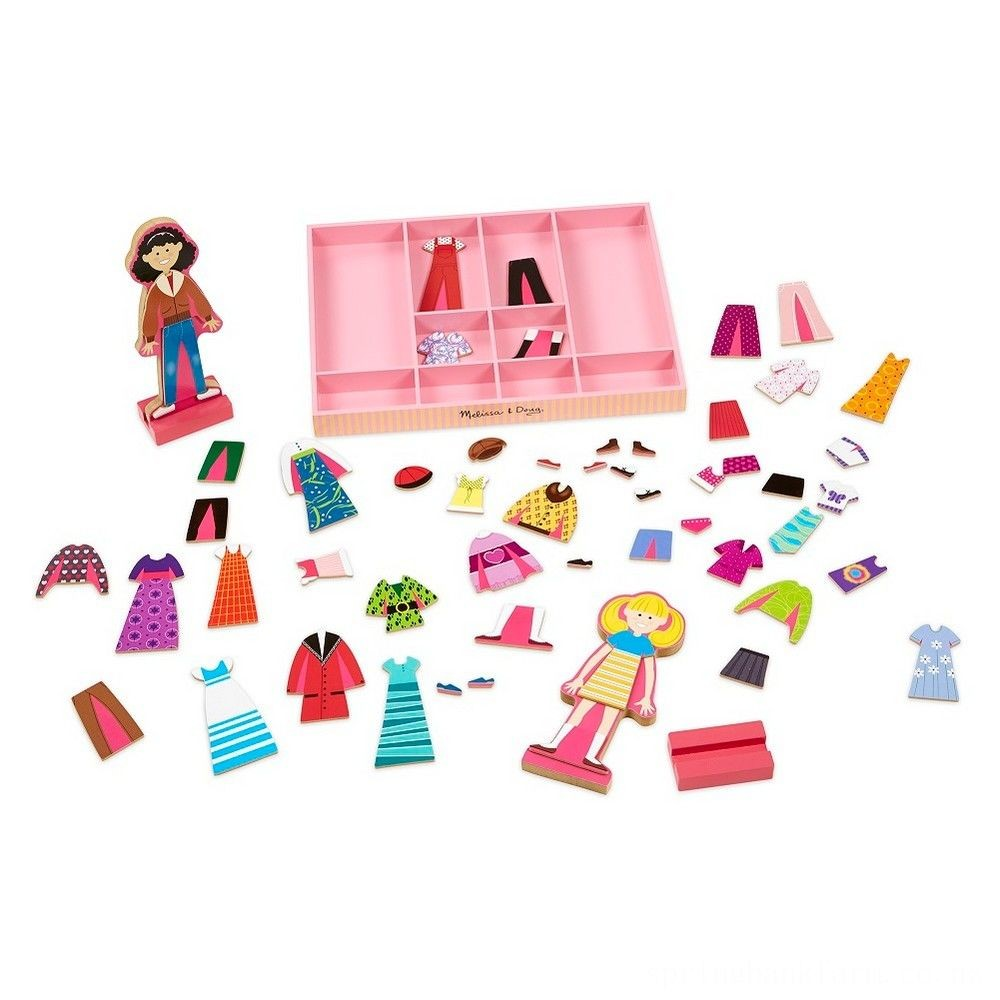 Melissa & Doug Abby and Emma Deluxe Magnetic Wooden Dress-Up Dolls Play Set (55+pc) Deal