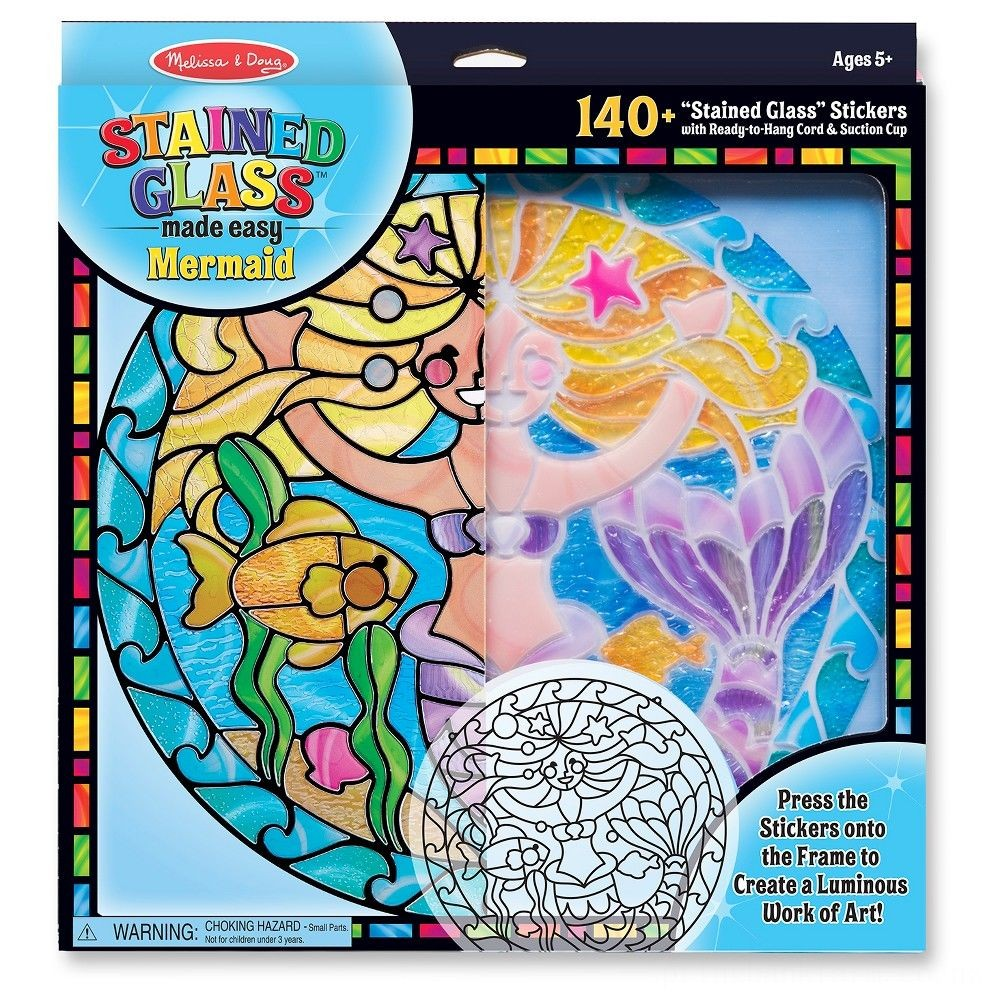 Melissa & Doug Stained Glass Made Easy Activity Kit: Mermaids - 140+ Stickers Deal