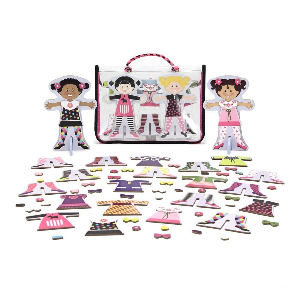 Melissa & Doug Tops and Tights Magnetic Dress-Up Wooden Doll Pretend Play Set (56+pc) Deal
