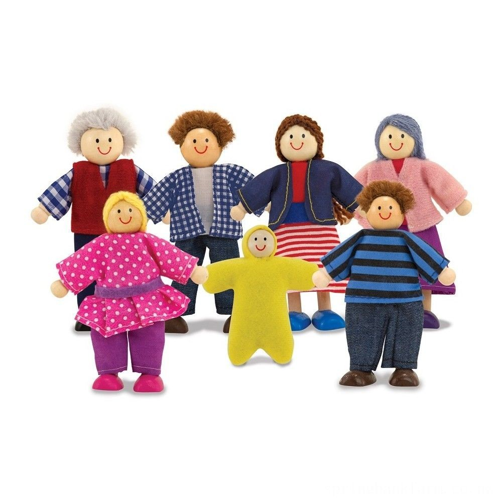 Black Friday 2020 Melissa & Doug 7-Piece Poseable Wooden Doll Family for Dollhouse (2-4 inches each) Deal