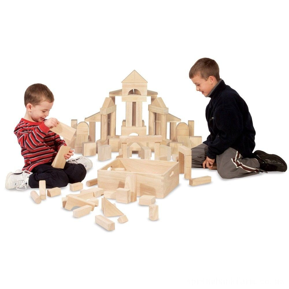 Melissa & Doug Standard Unit Solid-Wood Building Blocks With Wooden Storage Tray (60pc) Deal