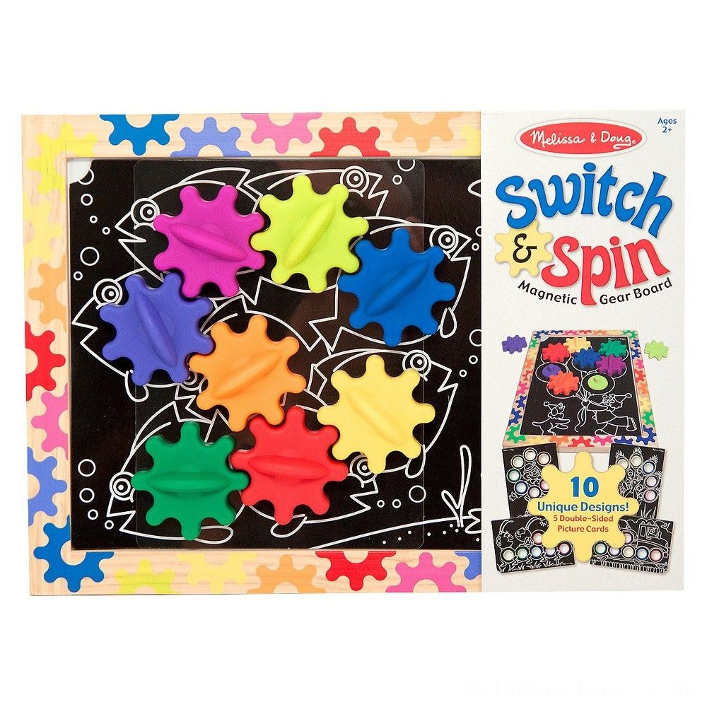 Melissa & Doug Switch and Spin Magnetic Gear Board - Educational Toy With 8 Gears and 5 Double-Sided Designs Board Game, Kids Unisex Deal