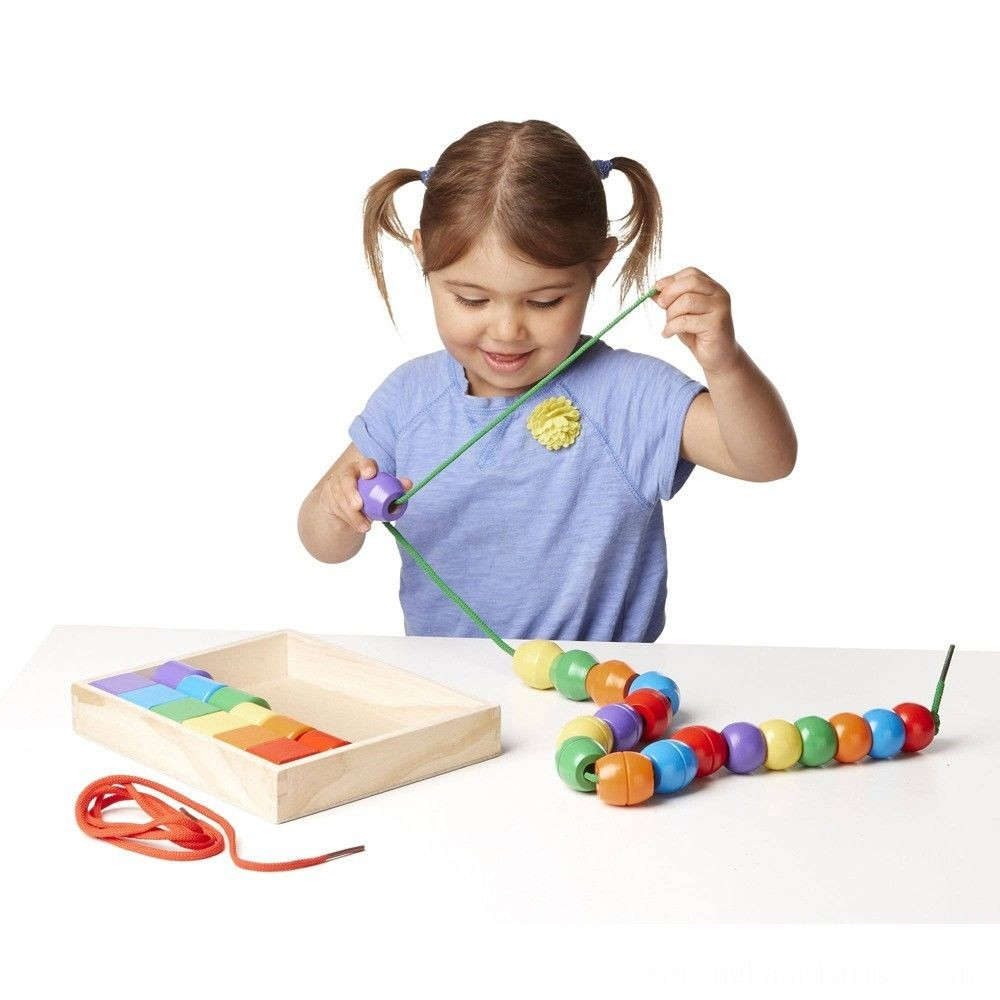 Melissa & Doug Primary Lacing Beads - Educational Toy With 30 Wooden Beads and 2 Laces Deal
