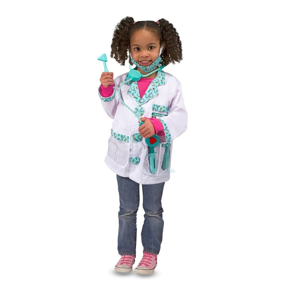 Melissa & Doug Doctor Role Play Costume Dress-Up Set (7pc), Adult Unisex, Size: Large, Red/Gold Deal