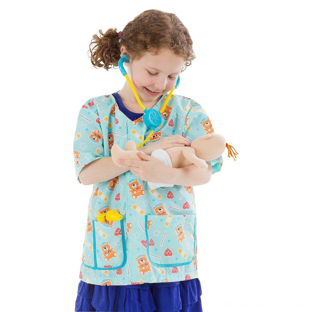 Melissa & Doug Pediatric Nurse Role Play Costume Set (8pc) - Includes Baby Doll, Stethoscope, Adult Unisex, Size: Newborn, Gold Deal