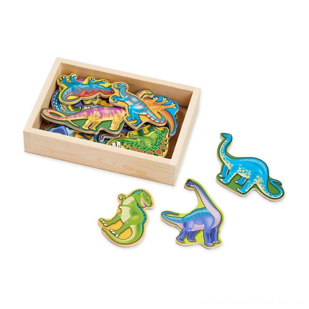 Melissa & Doug Magnetic Wooden Dinosaurs with Wooden Tray - 20pc Deal