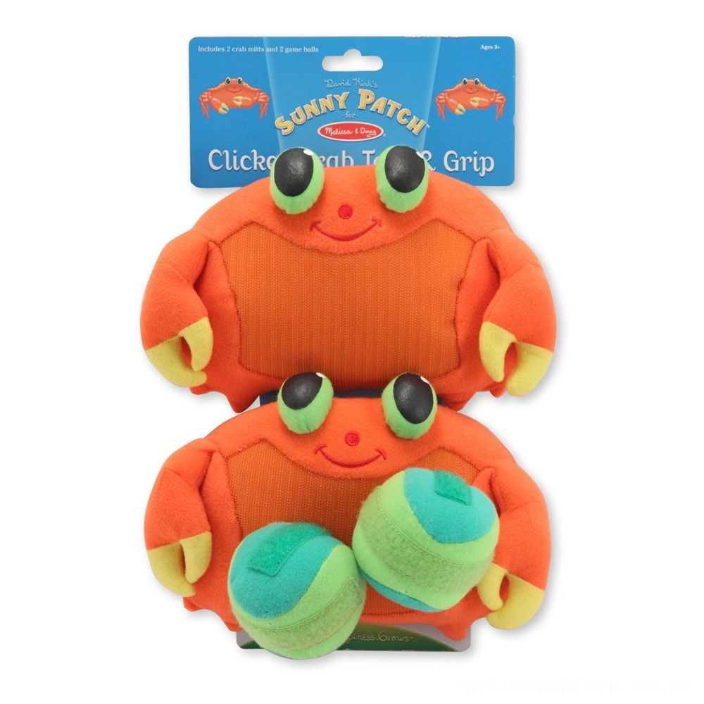 Melissa & Doug Sunny Patch Clicker Crab Toss and Grip Catching Game With 2 Balls Deal