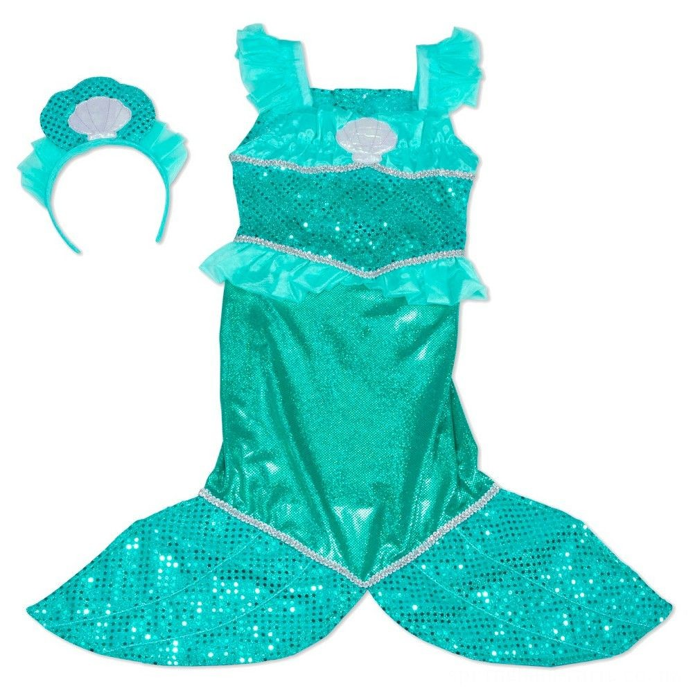 Melissa & Doug Mermaid Role Play Costume Set - Gown With Flaired Tail, Seashell Tiara, Women's Deal