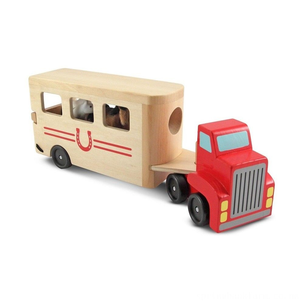Melissa & Doug Horse Carrier Wooden Vehicle Play Set With 2 Flocked Horses and Pull-Down Ramp Deal