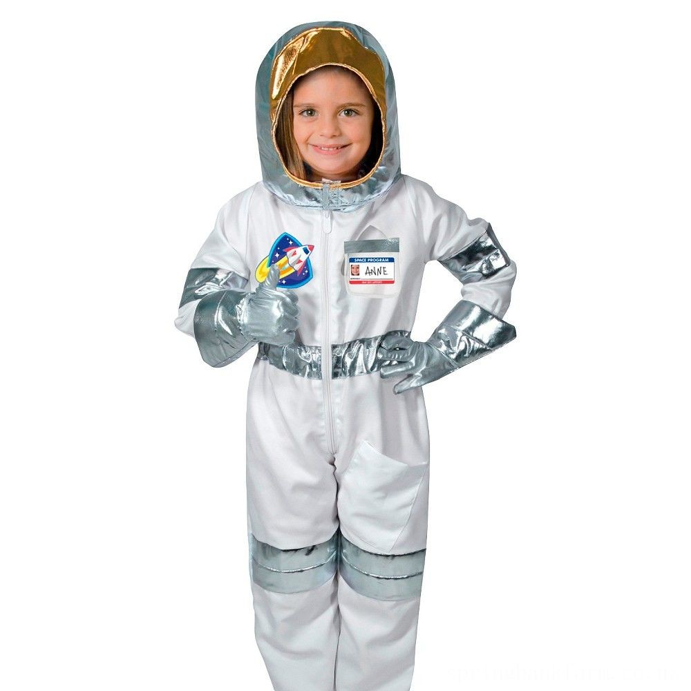 Melissa & Doug Astronaut Role Play Costume Set (5pc) - Jumpsuit, Helmet, Gloves, Name Tag, Adult Unisex, Size: Small, Red/Gold/Silver Deal