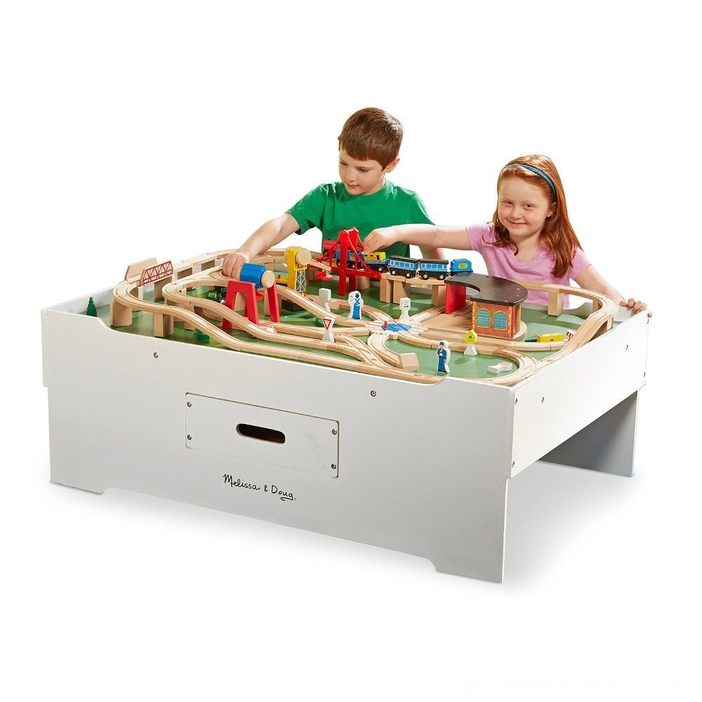 Melissa & Doug Deluxe Wooden Multi-Activity Play Table - For Trains, Puzzles, Games, More Deal