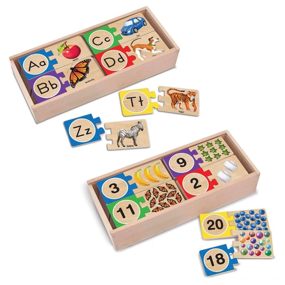 Melissa & Doug Self-Correcting Letter and Number Wooden Puzzles Set With Storage Box 92pc Deal