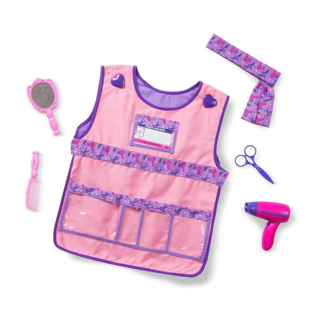 Melissa & Doug Hair Stylist Role Play Costume Dress-Up Set (7pc), Adult Unisex, Gold Deal