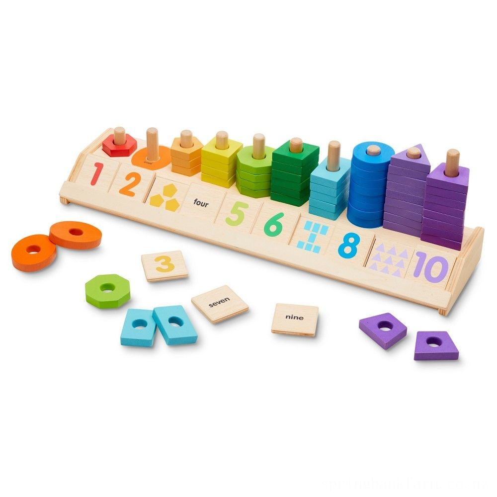 Melissa & Doug Counting Shape Stacker - Wooden Educational Toy With 55 Shapes and 10 Number Tiles Deal