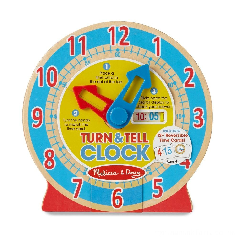 Melissa & Doug Turn & Tell Wooden Clock - Educational Toy With 12+ Reversible Time Cards Deal
