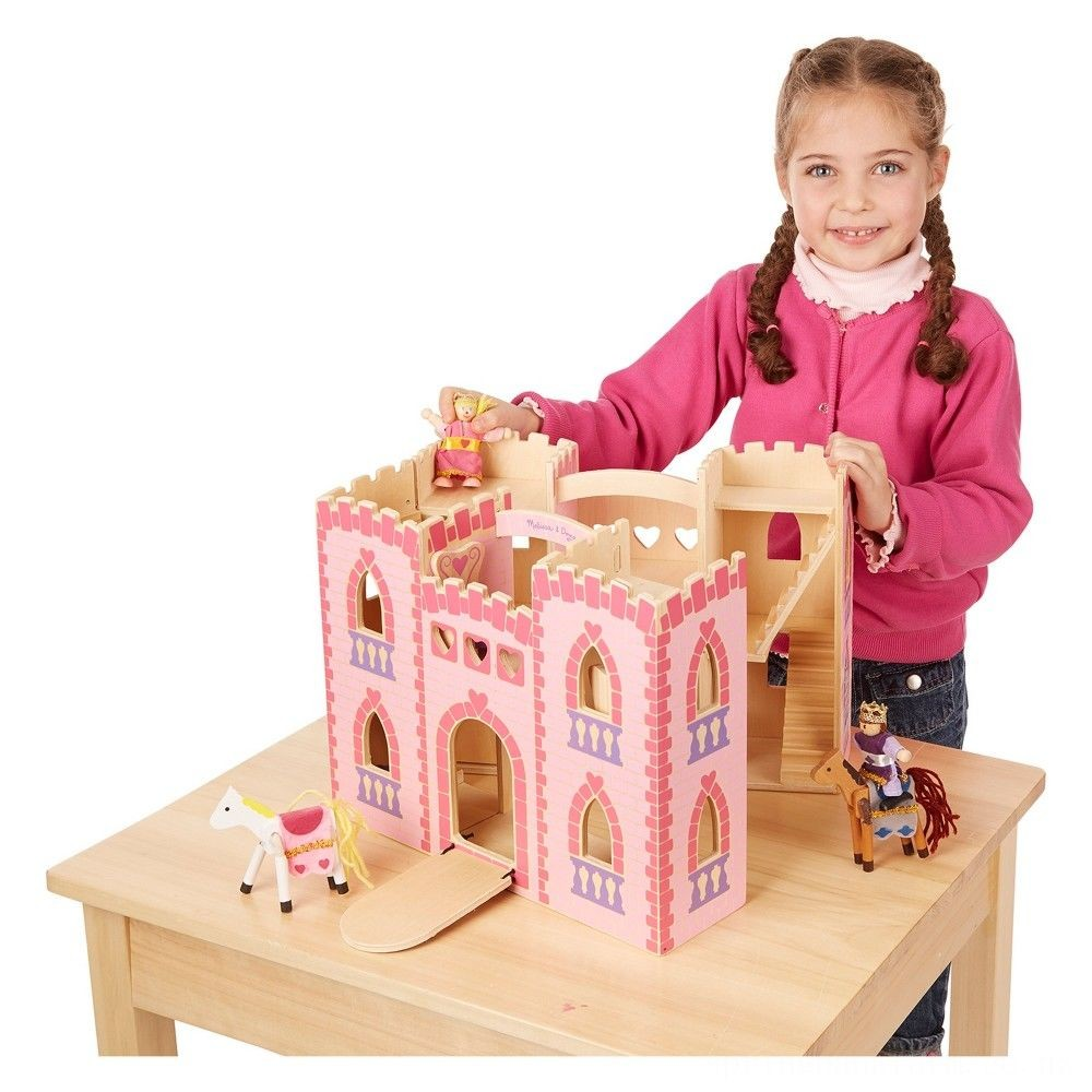 Melissa & Doug Fold and Go Wooden Princess Castle With 2 Royal Play Figures, 2 Horses, and 4pc of Furniture Deal