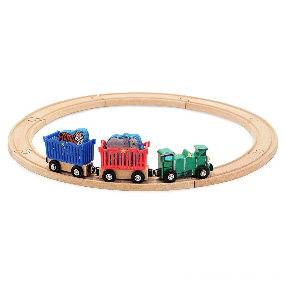Melissa & Doug Zoo Animal Wooden Train Set (12+pc) Deal