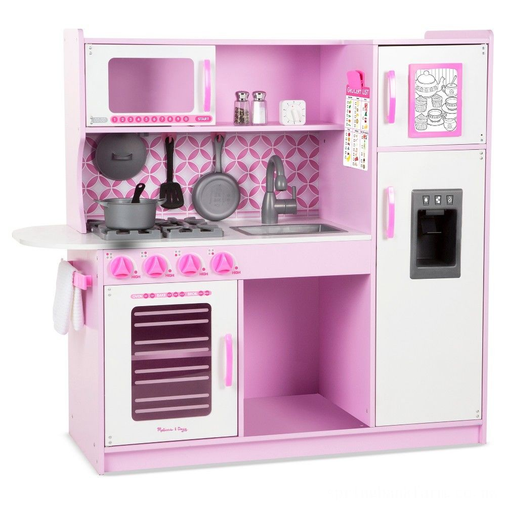 Melissa & Doug Chef's Kitchen Pretend Play Set - Cupcake Pink/White Deal