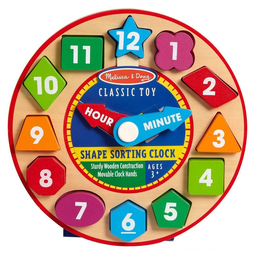 Melissa & Doug Shape Sorting Clock - Wooden Educational Toy Deal