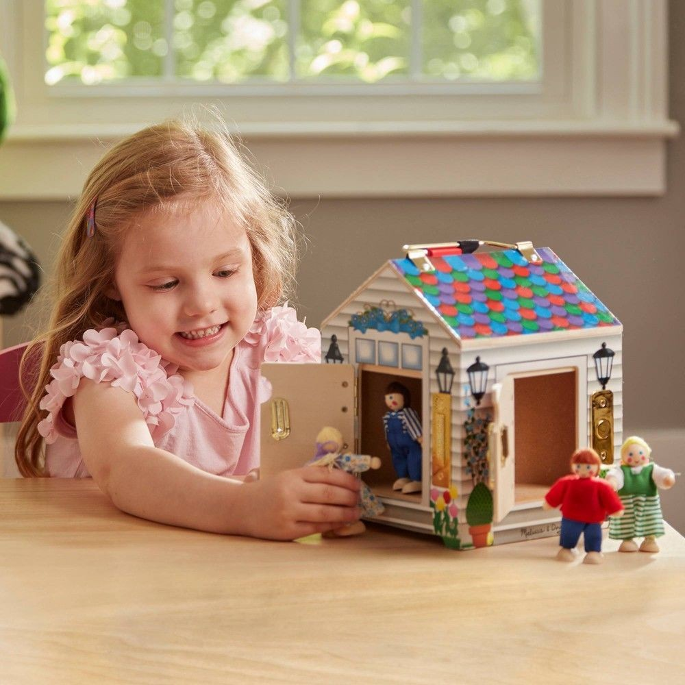 Melissa & Doug Take-Along Wooden Doorbell Dollhouse - Doorbell Sounds, Keys, 4 Poseable Wooden Dolls Deal