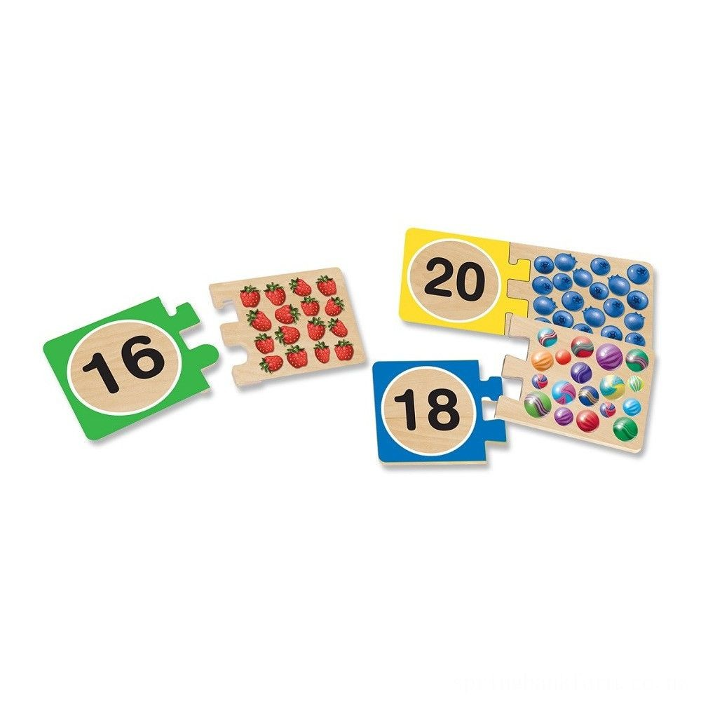 Melissa & Doug Self-Correcting Wooden Number Puzzles With Storage Box 40pc Deal