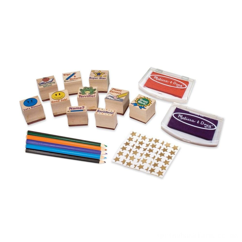 Melissa & Doug Wooden Classroom Stamp Set With 10 Stamps, 5 Colored Pencils, 4 Sticker Sheets, and 2-Colored Stamp Pad Deal