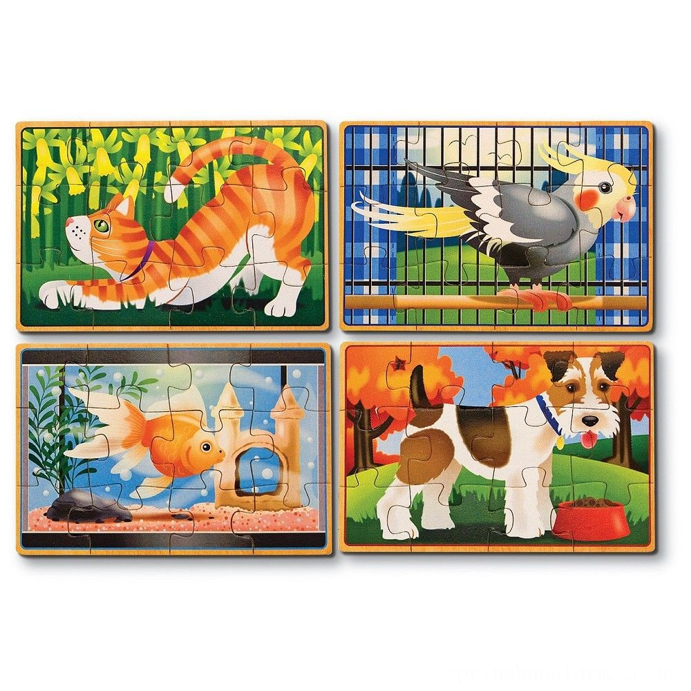 Melissa & Doug Animals 4-in-1 Wooden Jigsaw Puzzles Set - Pets and Farm 96pc Deal