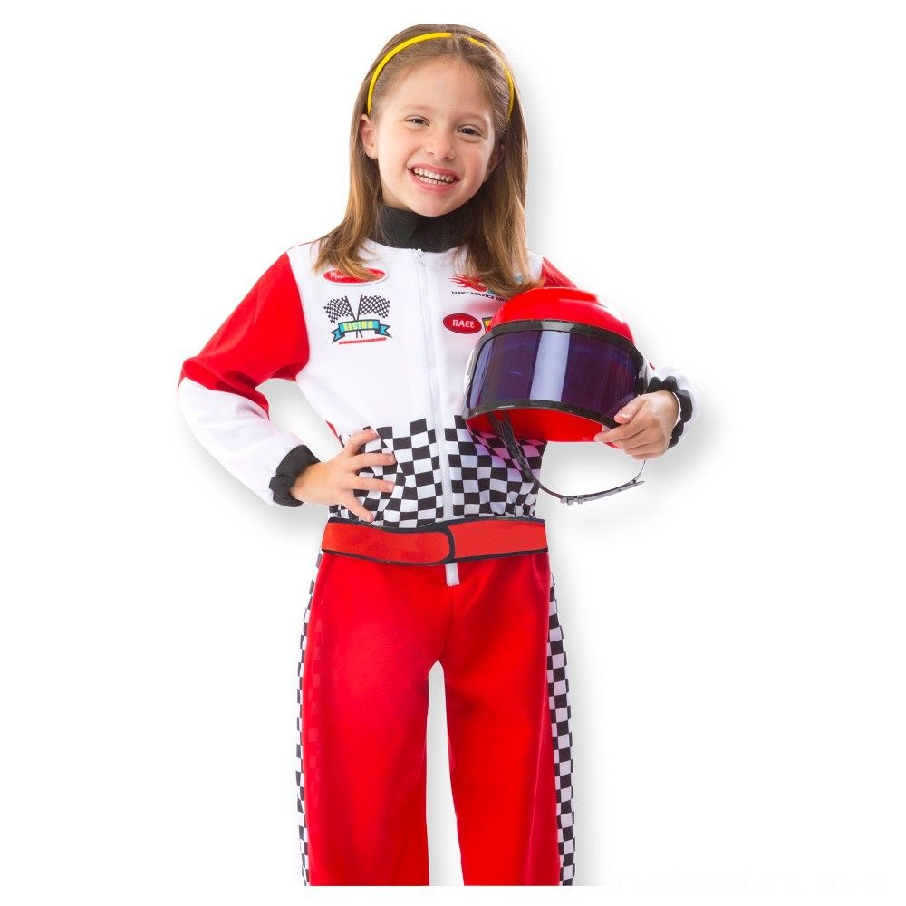 Melissa & Doug Race Car Driver Role Play Costume Set (3pc) - Jumpsuit, Helmet, Steering Wheel, Adult Unisex, Size: Small, Gold Deal