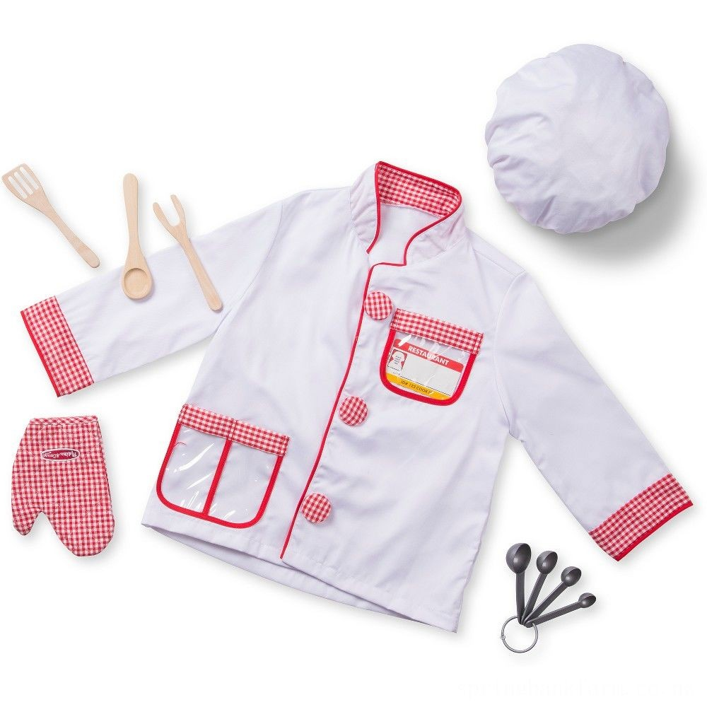 Melissa & Doug Chef Role Play Costume Dress -Up Set With Realistic Accessories, Adult Unisex, Red/Gold/red Deal