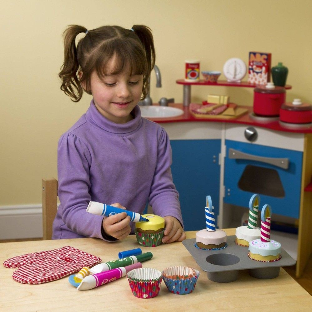 Melissa & Doug Bake and Decorate Wooden Cupcake Play Food Set Deal