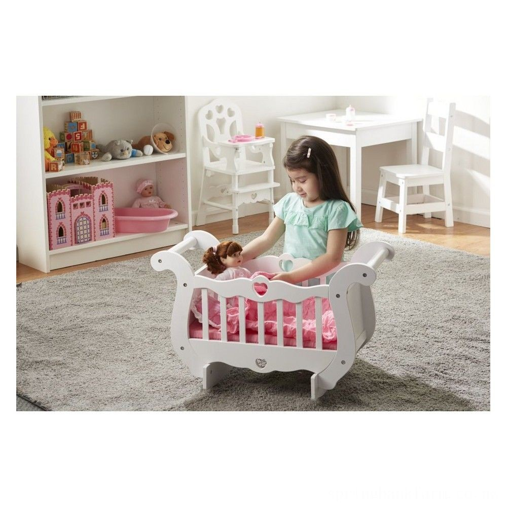 Melissa & Doug White Wooden Doll Crib With Bedding (30 x 18 x 16 inches) Deal