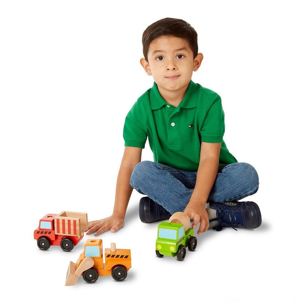 Melissa & Doug Stacking Construction Vehicles Wooden Toy Set Deal