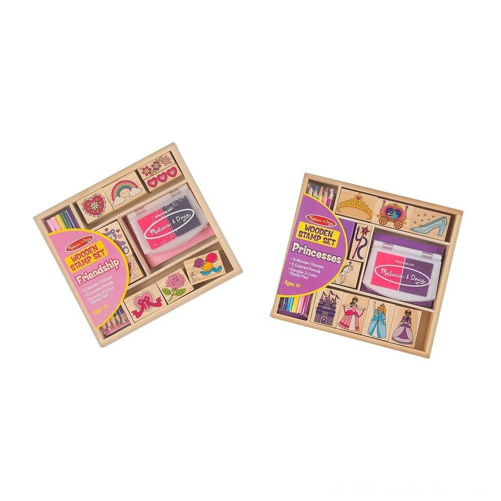 Melissa & Doug Wooden Stamps, Set of 2 - Princess and Friendship, With 18 Stamps, 10 Colored Pencils, and 2 Stamp Pads Deal